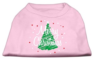 Scribbled Merry Christmas Screenprint Shirts Light Pink L (14)